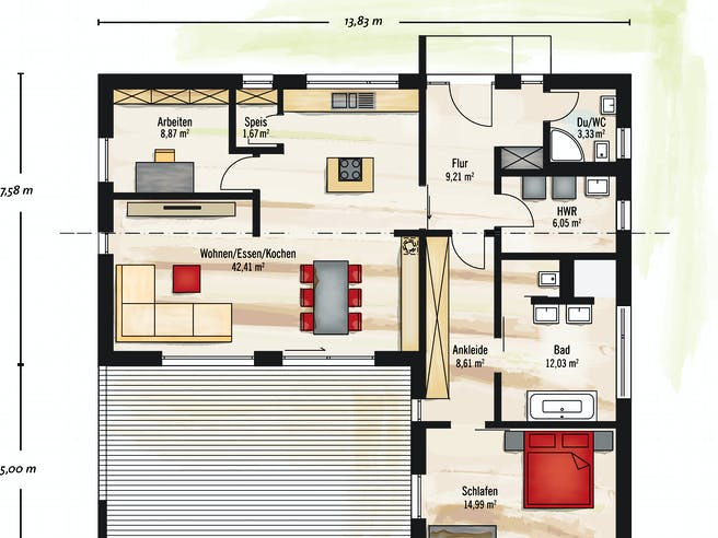 Bungalow Pultdach floor_plans 0
