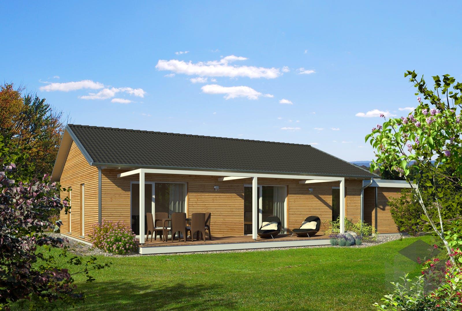 bungalow satteldach von baufritz. Black Bedroom Furniture Sets. Home Design Ideas
