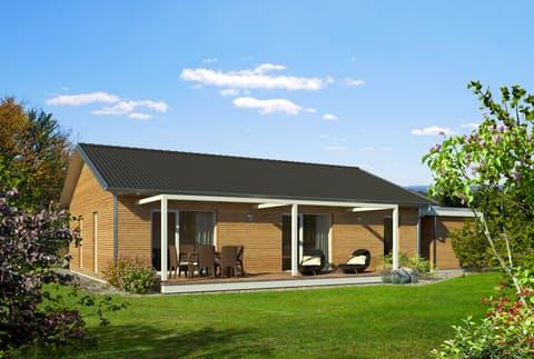 Einfamilienhaus Bungalow Satteldach Von Baufritz Fertighaus De