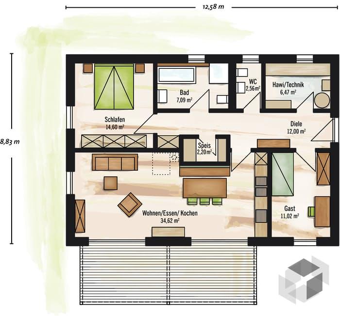 Fertighaus bungalow satteldach  Bungalow Satteldach von Baufritz | komplette Datenübersicht ...