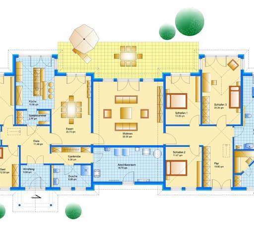 Bungalow Sonderplanung Floorplan 1