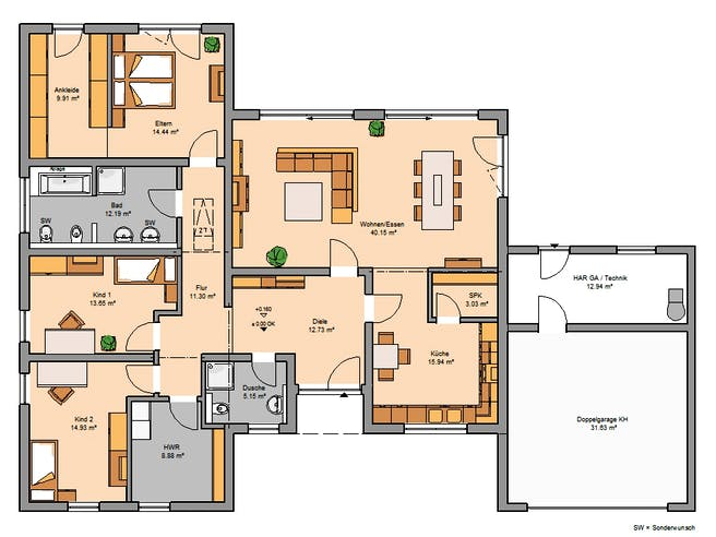 Kern Haus - Bungalow Trio Floorplan 1