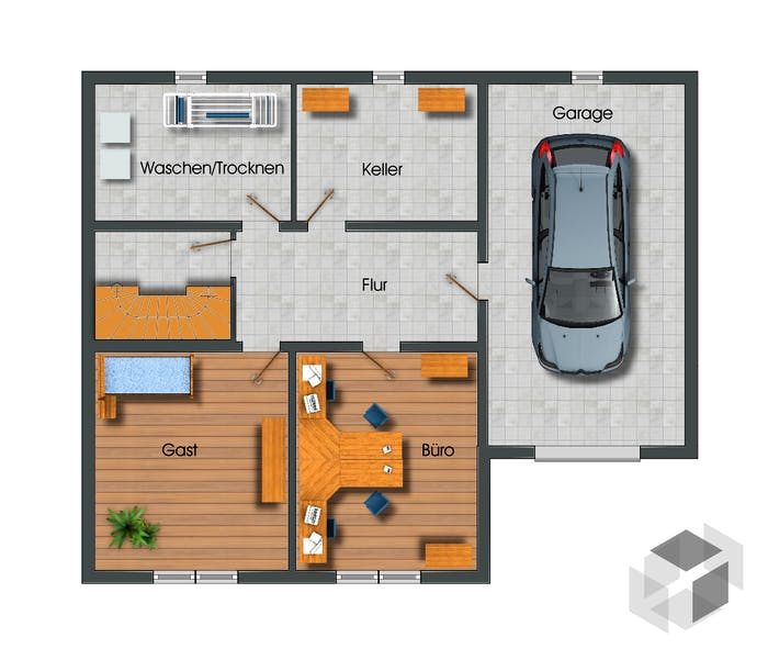 Grundriss bungalow mit garage  Bungalow vollunterkellert mit Garage von Siegerland Massivhaus ...