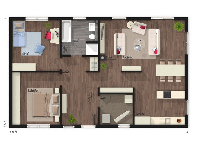 Bungalow 100 Trend Floorplan 1