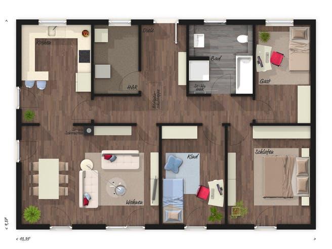 Bungalow 110 von Town & Country Haus Grundriss 1