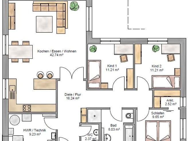 Bungalow 113 von Suckfüll - Unser Energiesparhaus Grundriss 1