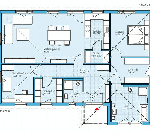 Hanse - Bungalow 126 Floorplan 1