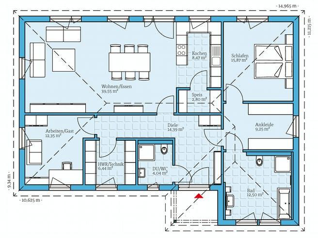 Bungalow 126 von Hanse Haus Grundriss 1