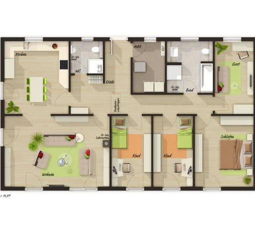 Bungalow 131 Trend Floorplan 1