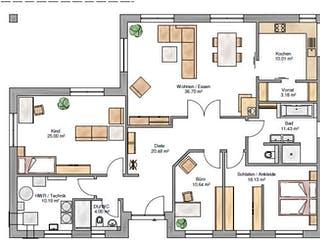 Bungalow 150 von Suckfüll - Unser Energiesparhaus Grundriss 1