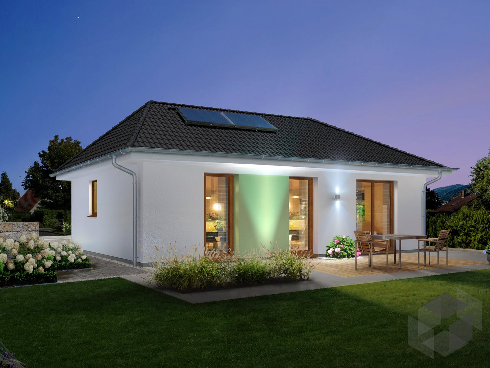 massivhaus bungalow 78 von town country haus. Black Bedroom Furniture Sets. Home Design Ideas