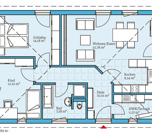 Hanse - Bungalow 80 Floorplan 1