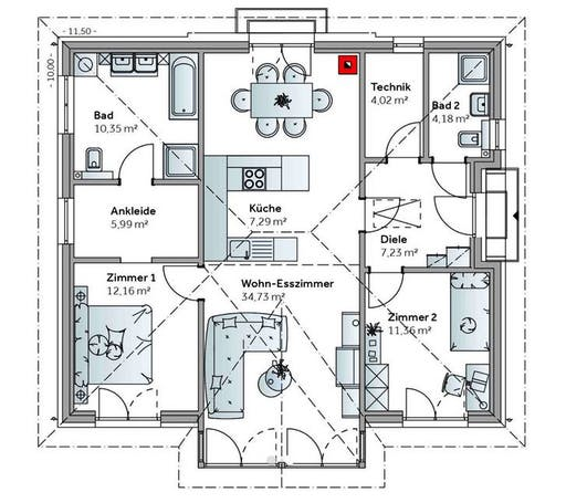 Bungalow E98 Floorplan 1
