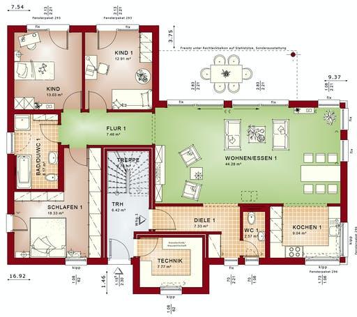 Bien Zenker - CELEBRATION 282 V2 Floorplan 1