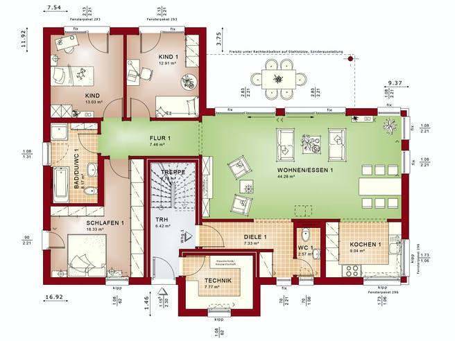 CELEBRATION 282 V2 von Bien-Zenker Grundriss 1
