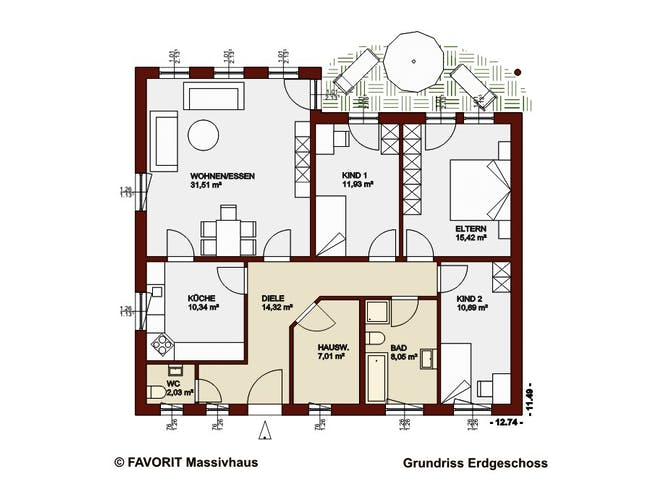 Chalet 111 von Favorit Massivhaus Grundriss 1