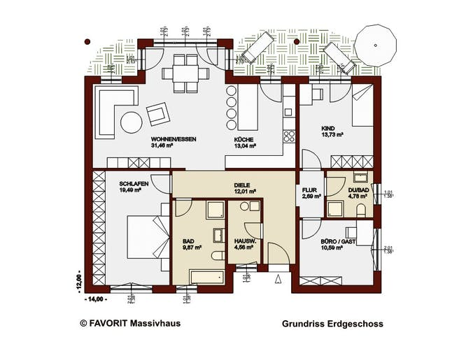 Chalet 122 von Favorit Massivhaus Grundriss 1