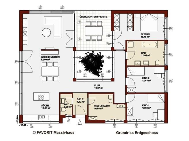 Chalet 153 von Favorit Massivhaus Grundriss 1
