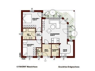 Chalet 91 von Favorit Massivhaus Grundriss 1