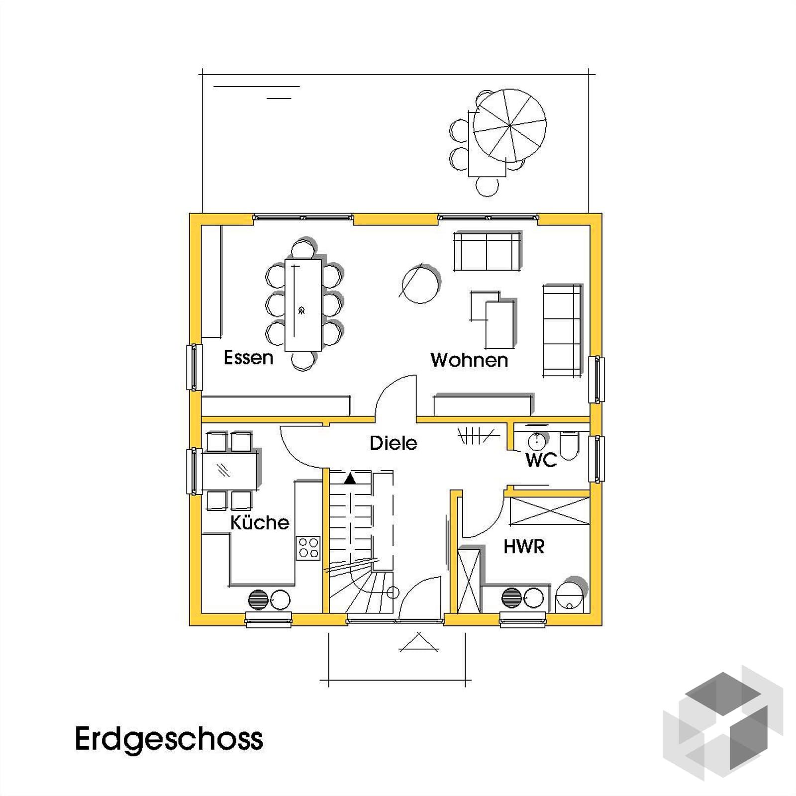 christine 3 kfw effizienzhaus 40 von dammann haus. Black Bedroom Furniture Sets. Home Design Ideas
