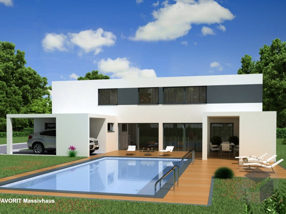 Concept Design 198 von Favorit Massivhaus Außenansicht