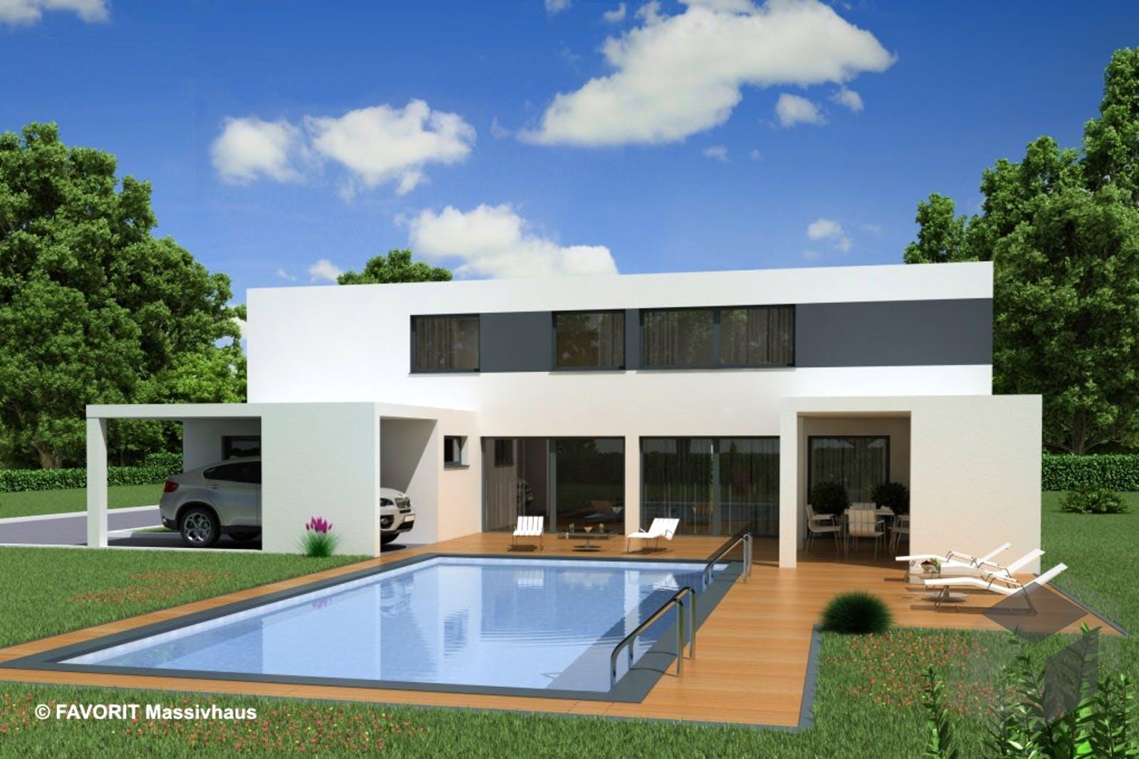 Modern Haus Design - fertighaus sky view mit dachterrasse mit ...