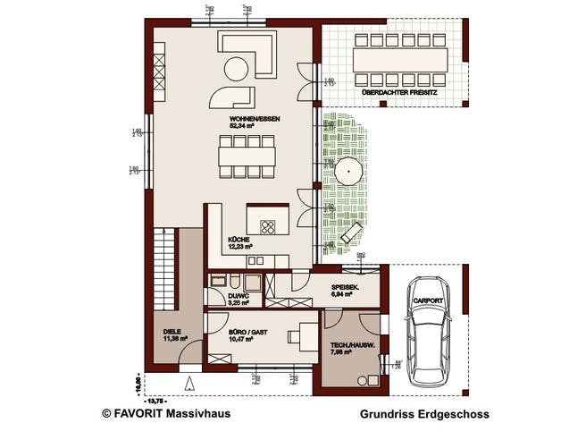 Concept Design 198 von Favorit Massivhaus Grundriss 1
