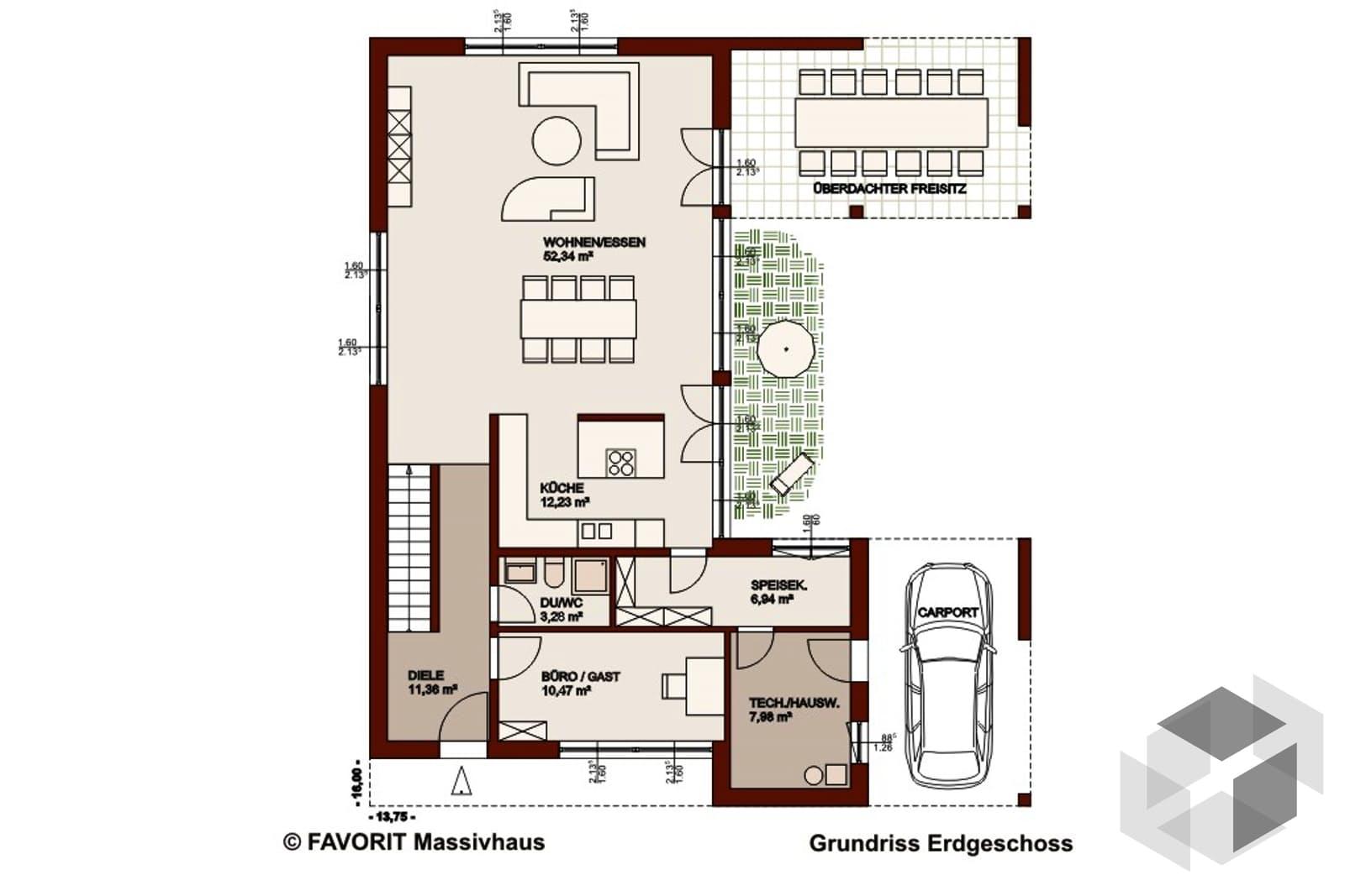 concept design 198 von favorit massivhaus komplette daten bersicht. Black Bedroom Furniture Sets. Home Design Ideas