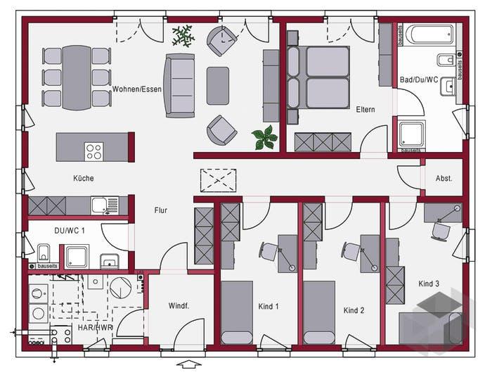 Hübsch Grundriss Haus 3 Kinderzimmer Bildergalerie >> Exterieur ...