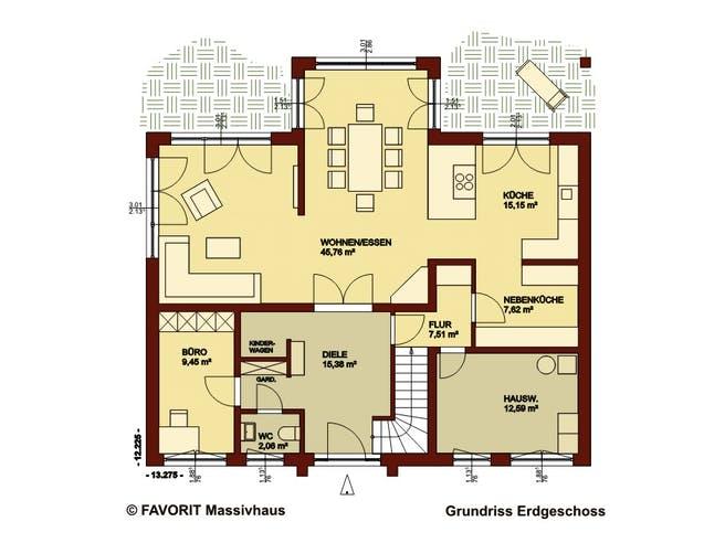 Creativ Sun 211 von Favorit Massivhaus Grundriss 1