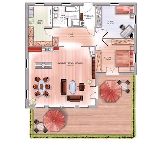 Dennert ICON Bungalow Floorplan 1 - Variante Winkelbungalow