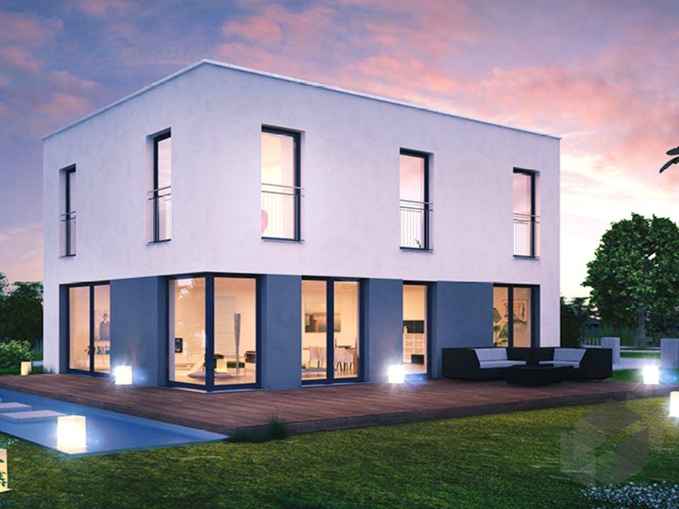 ICON 3 City mit Flachdach von Dennert Massivhaus Außenansicht