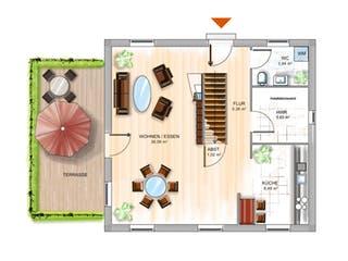 ICON 3 City mit Flachdach von Dennert Massivhaus Grundriss 1