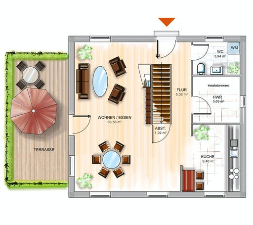 Dennert ICON 3 City mit Flachdach Floorplan 1