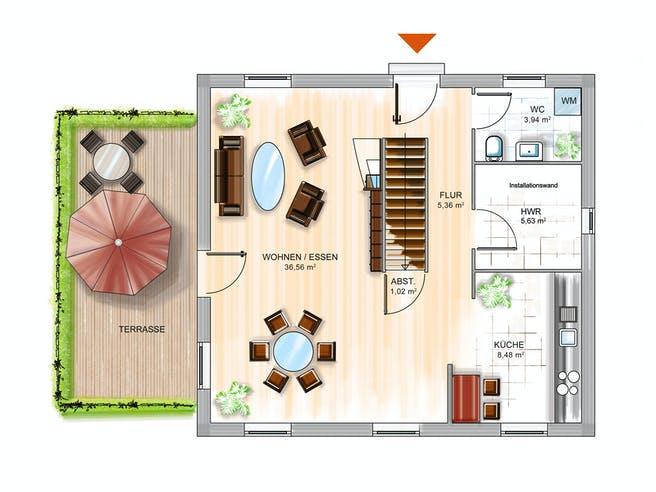 Dennert ICON 3 City mit Flachdach Floorplan 1