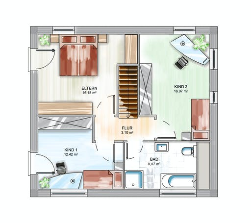 Dennert ICON 3 City mit Flachdach Floorplan 2