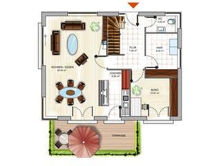 ICON 3+ City mit Flachdach von Dennert Massivhaus Grundriss 1