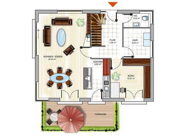 ICON 3+ City mit Flachdach Floorplan 1