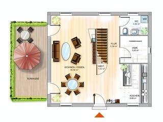ICON 3 City mit Satteldach von Dennert Massivhaus Grundriss 1