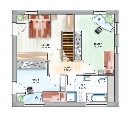 Dennert ICON 3 City mit Satteldach Floorplan 2