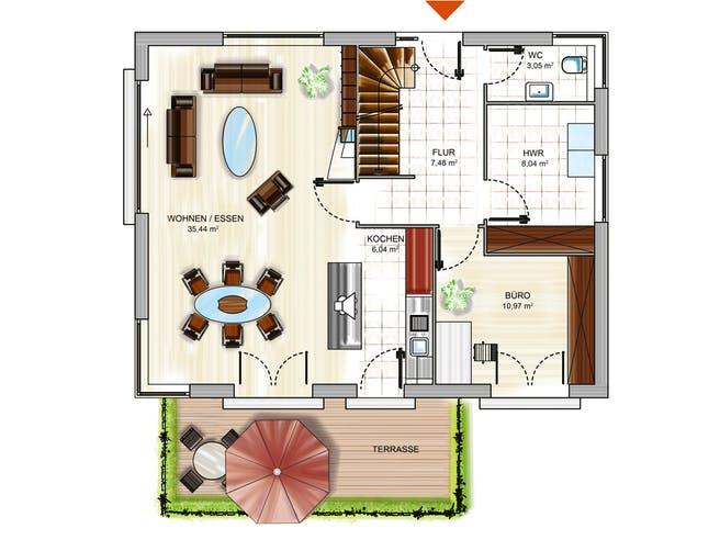ICON 3+ City mit Walmdach von Dennert Massivhaus Grundriss 1