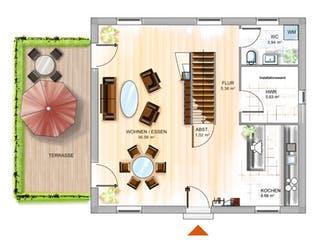 ICON 3 City mit Walmdach von Dennert Massivhaus Grundriss 1