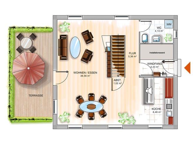 ICON 3 mit Satteldach von Dennert Massivhaus Grundriss 1