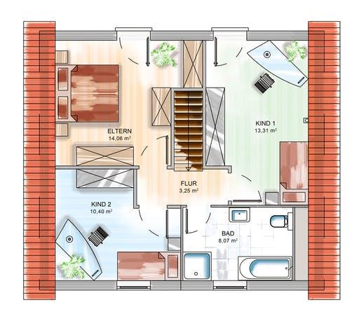 Dennert ICON 3+ mit Satteldach Floorplan 2