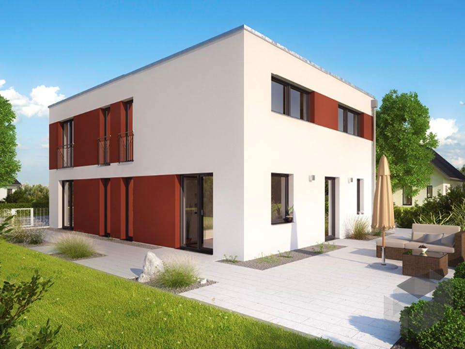 ICON 4 City mit Flachdach von Dennert Massivhaus Außenansicht
