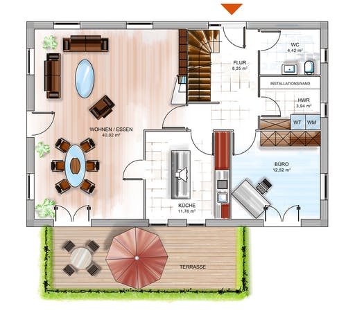 Dennert ICON 4 City mit Flachdach Floorplan 1