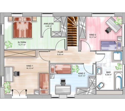 Dennert ICON 4 City mit Flachdach Floorplan 2