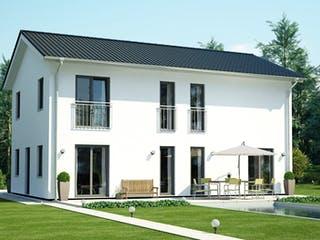 ICON 4 City mit Satteldach von Dennert Massivhaus Außenansicht 1