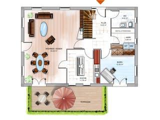 ICON 4 City mit Satteldach von Dennert Massivhaus Grundriss 1