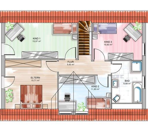 Dennert ICON 4 mit Quergiebel Floorplan 2